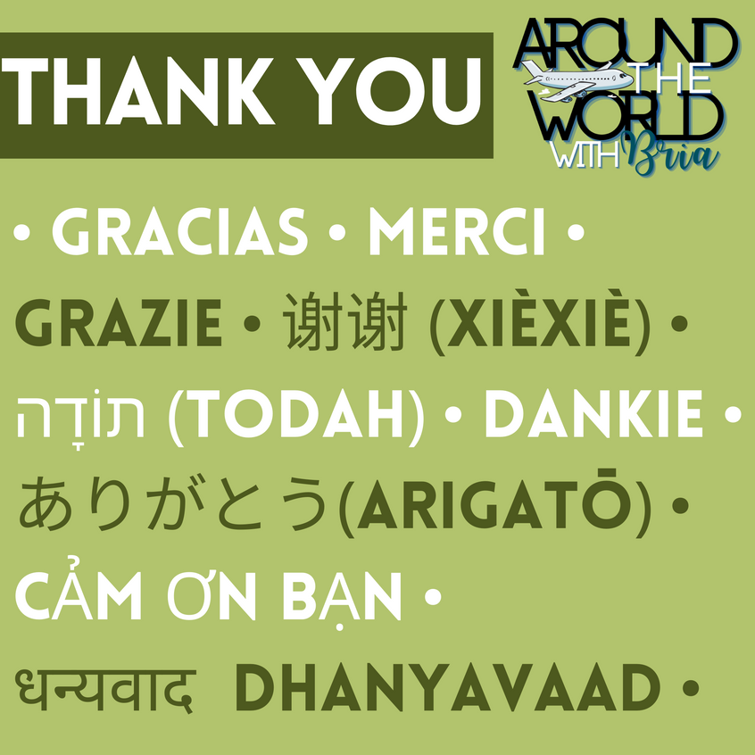 Thank You in Spanish, French, Italian, Chinese (Simplified), Hebrew, Afrikaans, Japanese, Vietnamese, and Hindi