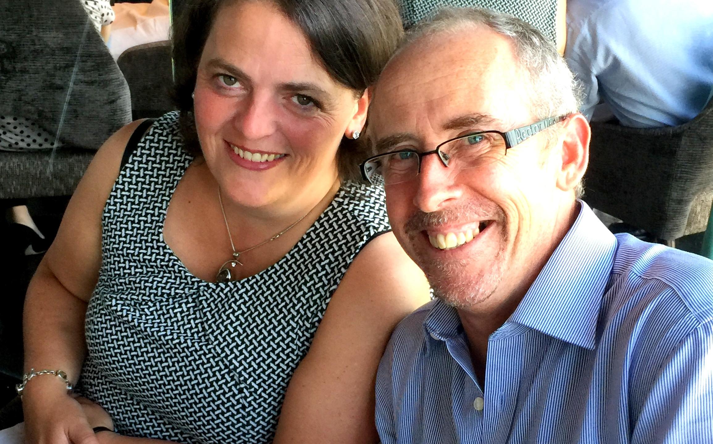 Chartered Surveyor Ashley Payne with wife Victoria enjoying Aqua Shard.