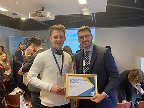 Zack receiving his 2020 Level 3 Property Management Apprentice of the Year Award.