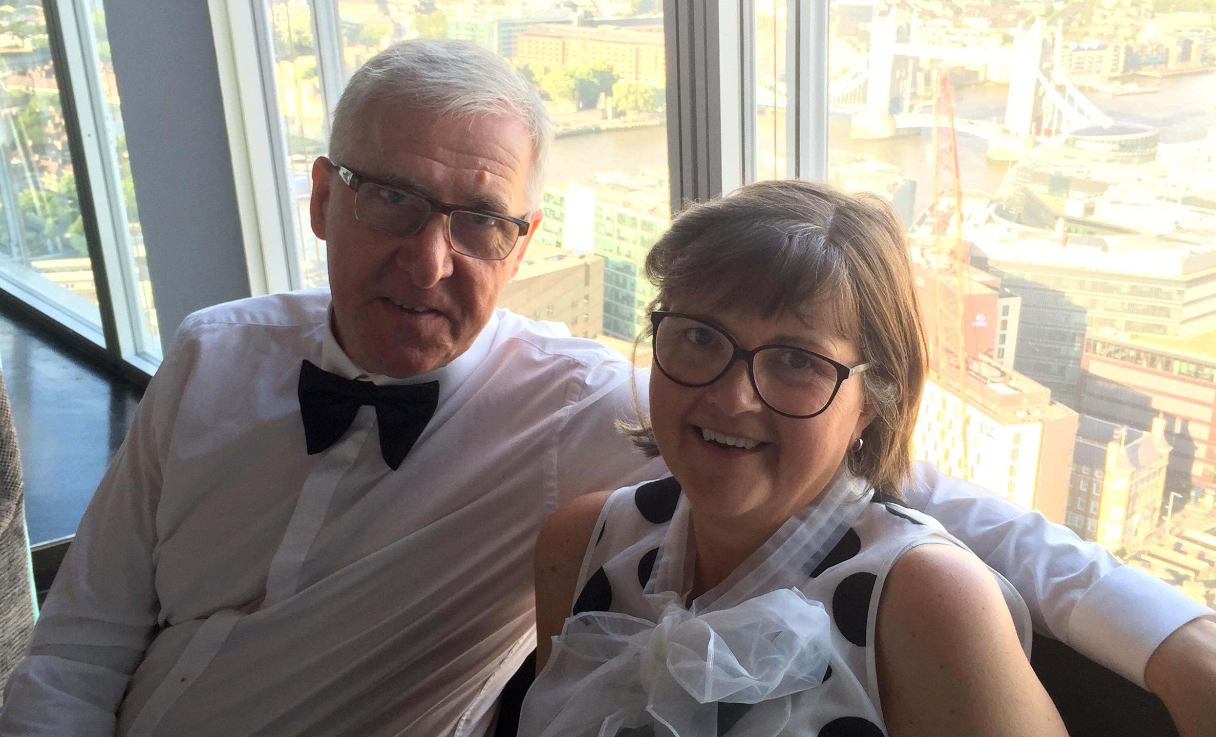 Company Director and Building Surveyor Tony joined by Netta Mackintosh Executive Secretary. Both looking glamorous.