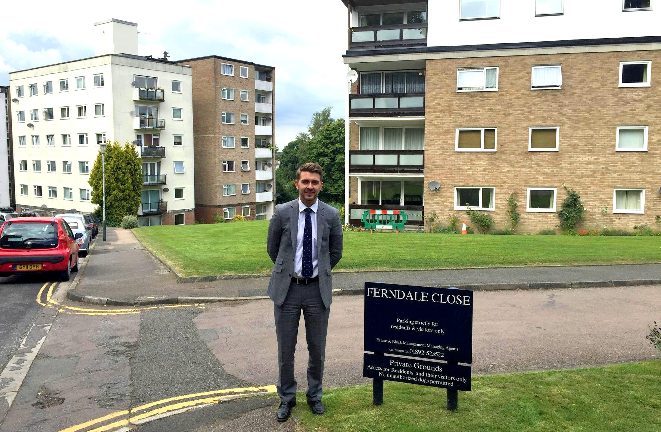 Property Manager and Company Director Matthew Mackintosh stands outside Ferndale Close, the residential estate of 74 flats in Tunbridge Wells.