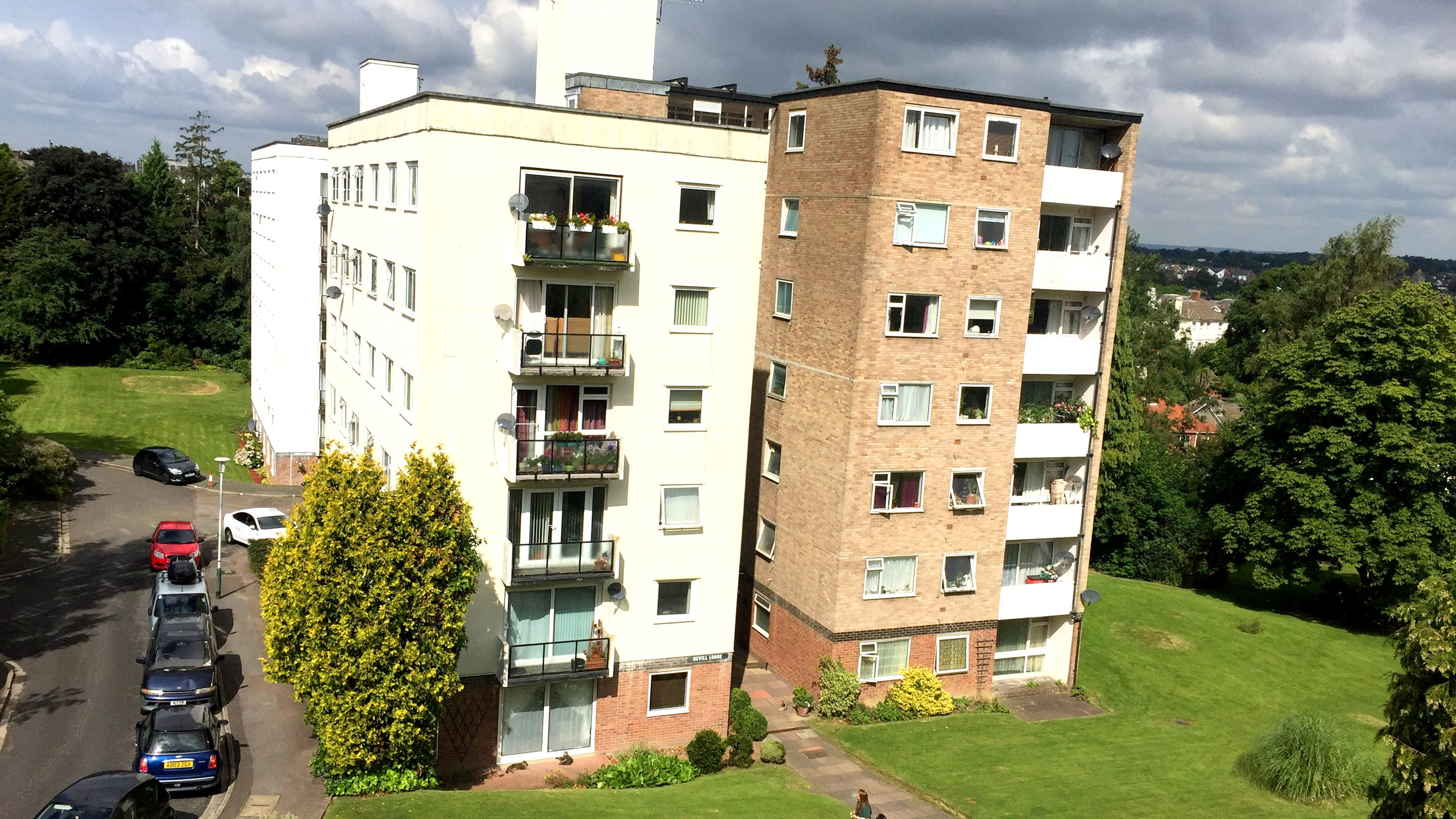 One of the 7 story residential blocks within the Ferndale Close estate, managed by AM Surveying Property Services.
