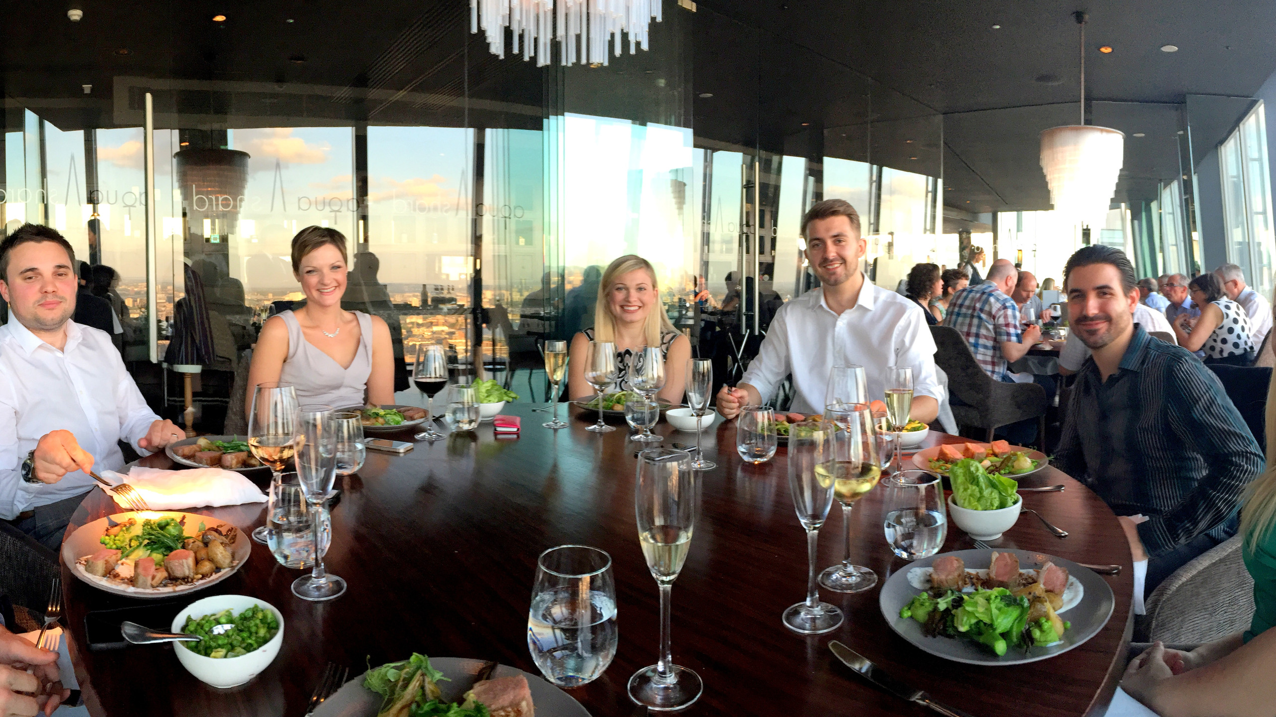 AM Surveying team enjoying the Shard finest dinning overlooking London's city-scape.