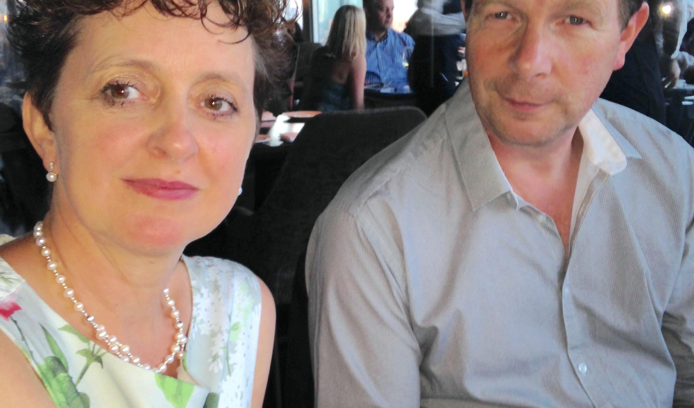 Sharon, Head of Accounts and husband Shane enjoying Aqua-Shard.