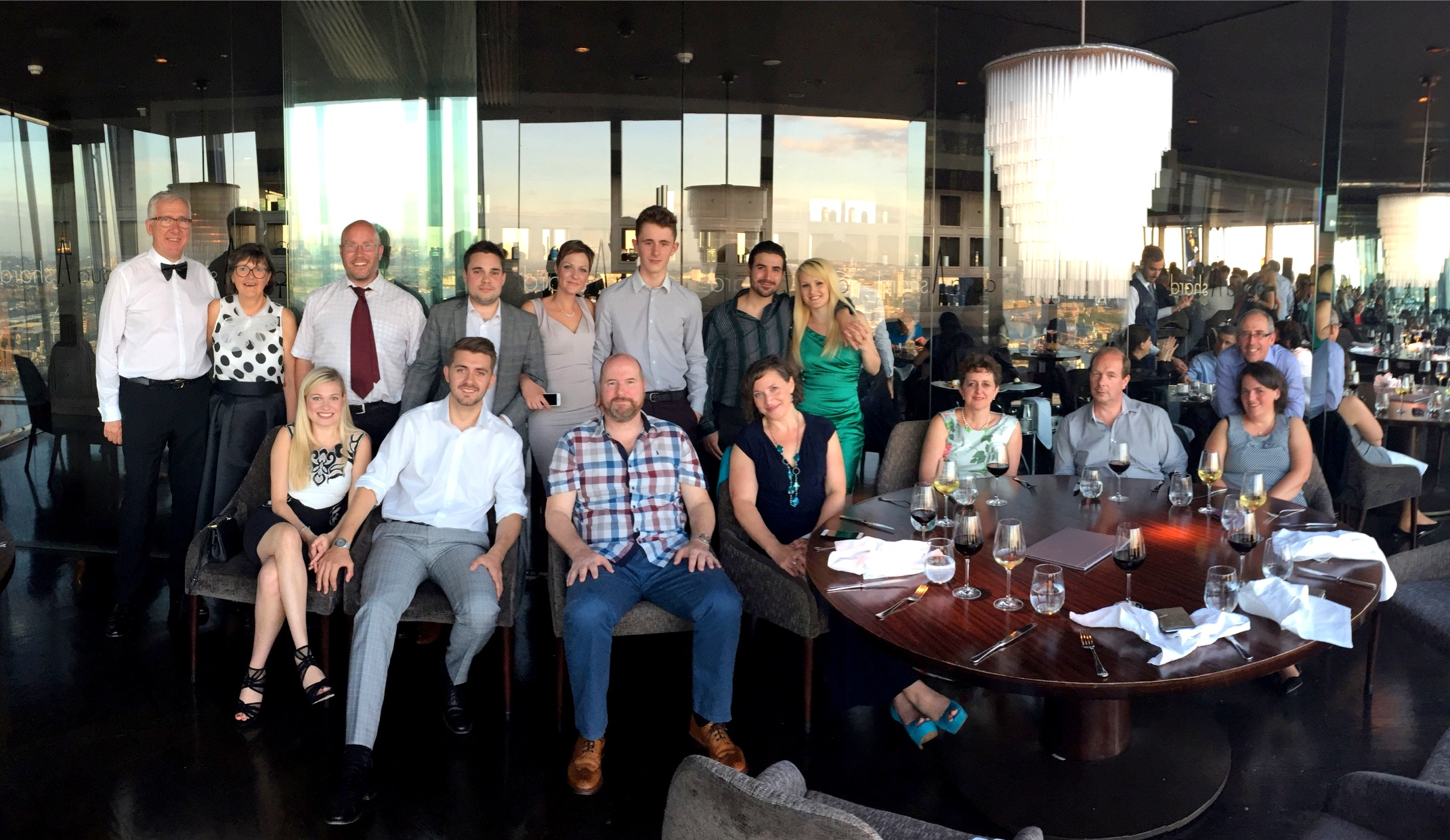 Block Management and Building Surveying team enjoy an evening of fine dining at the Shard.