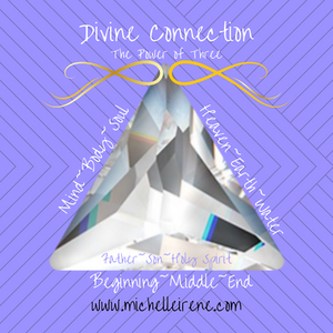 this triangle crystal represents the power of three. The triangle has three sides and cannot stand on it own. It needs all three sides to stand in it's power. mind, body, soul. father,son, holy spirit.  heaven, earth, water. Beginning, middle, end.