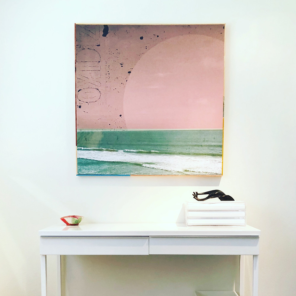 """I've never been a big """"pink"""" girl but I just love this sweet blush against the turquoise sea. Layered with a distressed image gives it a cool contrast"""