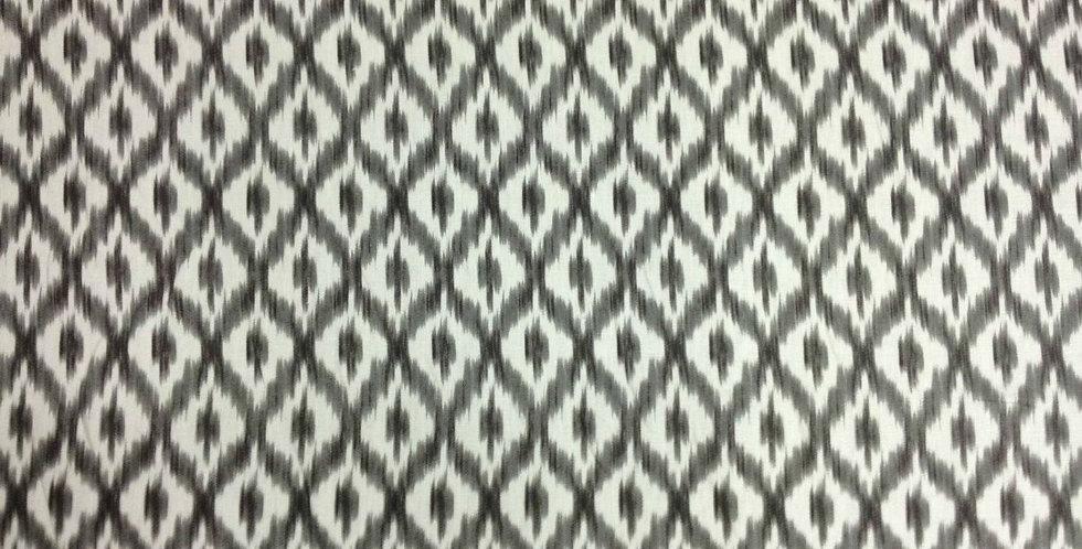 Gray and White IKAT Fabric - Dedra Shade Fabric