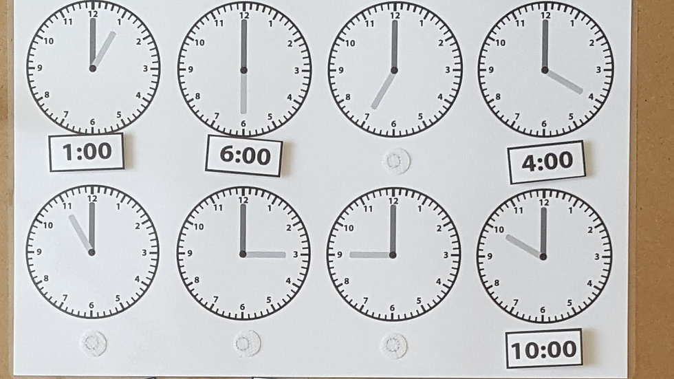 Telling the Time - o'clock Activity Page