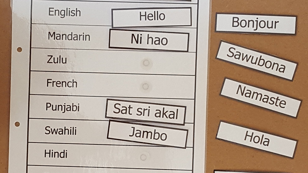 Language and Greeting Activity Page
