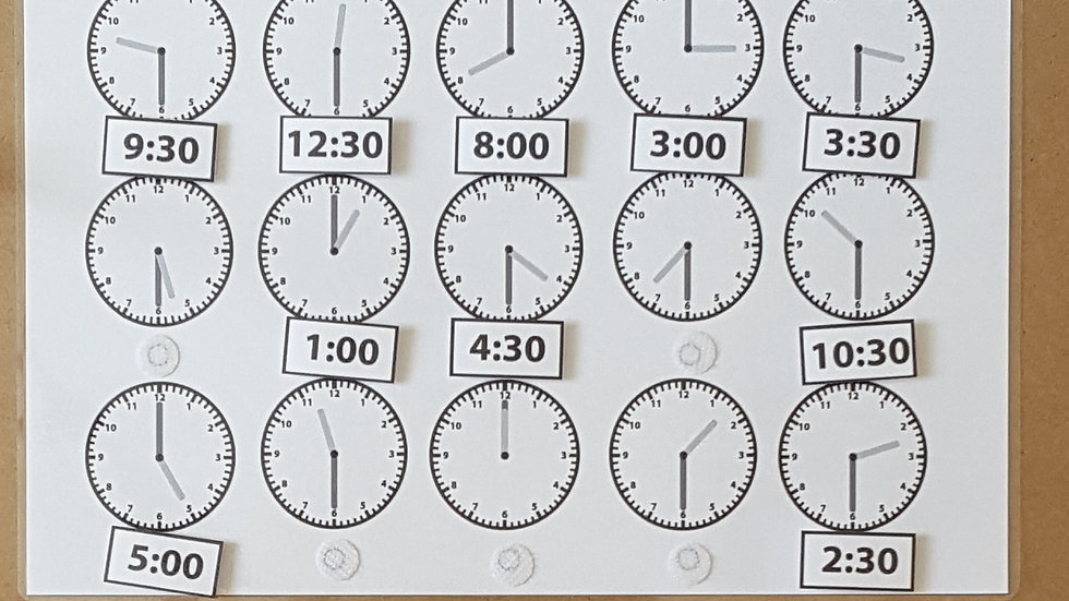Telling the Time half past Activity Page