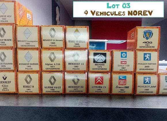 Lot 9 véhicules miniatures