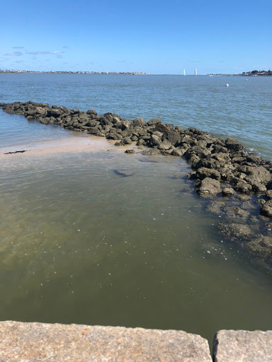 A photograph of the Atlantic Ocean with a rocky jetty extending out into the water.  On the right side is deeper water, on the left side is shallow water showing sand.  At the very front of the photo is the edge of a brick wall.