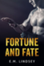 Image of a shirtless white man visible from the nose down. He's facing left, wrapping boxing tape around his left hand.  Text reads Fortune and Fate E.M. Lindsey