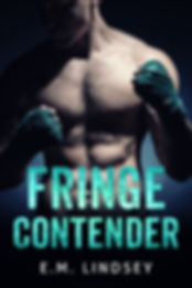 Shirtless man facing forward, looking down, face hidde in shadows.  He's holding up two fist wrapped in boxing tape.  Text reads Fringe Contender E.M. Lindsey