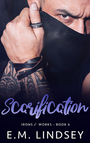 Close up of a pale-skinne man covering all of his face except his right eye with a black leather collar.  His exposed hand has a ring on the thumb, leather band on the wrist, and tattoos from wrist to shoulder.  Text reads Scarification Irons and Works Boo Six E.M. Lindsey
