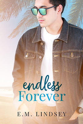 A Japanese man wearing sunglasses and a jean jacket is staring off to the side.  Background is ocean and palm trees faded.  Text reads: Endless Forever, E.M. Lindsey