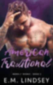 A white man wih brown hair is looing down with one hand in his hair, he has grey scale tattoos from wrist to shoulder and tattoos across his chest Text reads American Traditional Irons and Works book 3 E.M. Lindsey