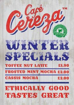 Cafe Cereza tent card