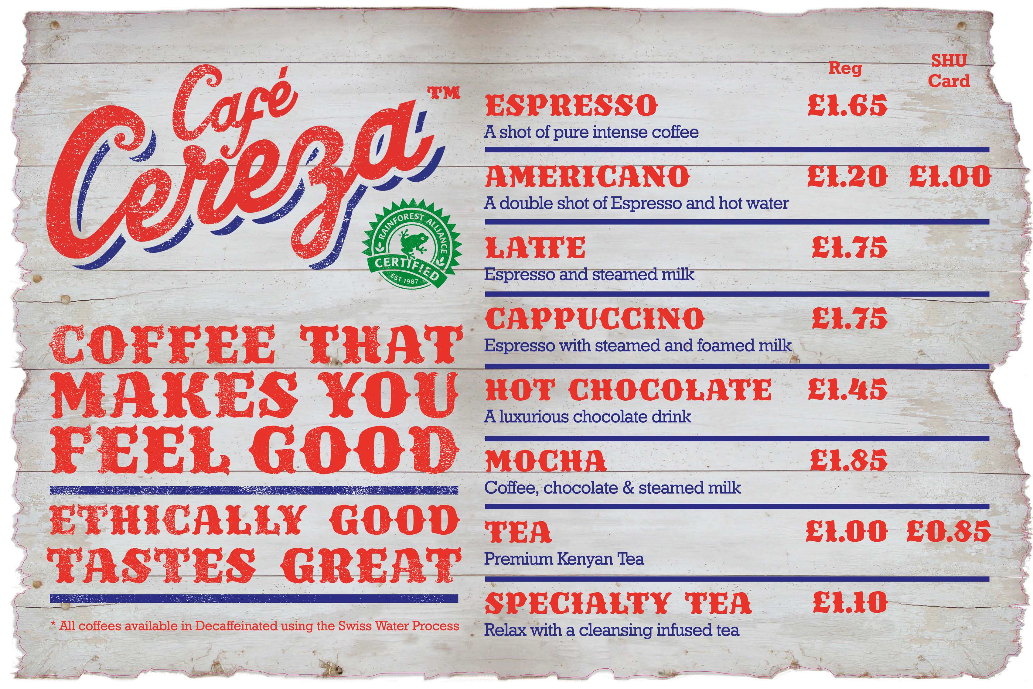 Cafe Cereza menu board