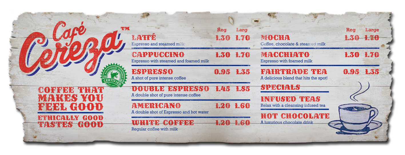 Cafe Cereza tariff board