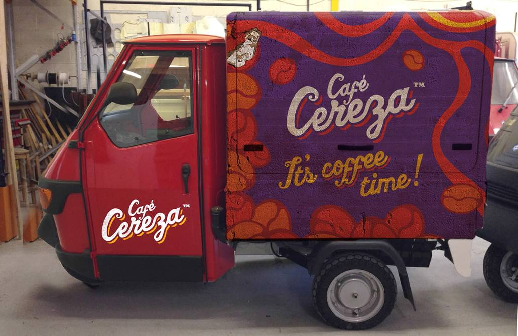 Cafe Cereza branded Piaggio van