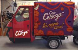 Cafe Cereza branded Piaggio van