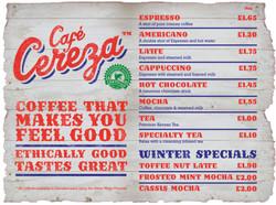 Cafe Cereza menu board