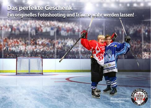 Als Hockey-Profi auf dem Eis - aber an der Wärme bei Heidi's Photo Chalet
