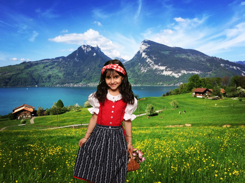 Cute little Swiss Heidi - unique souvenir photo