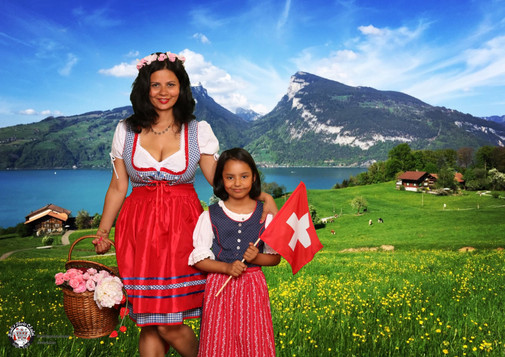 Mommy and daughter are happy Swiss gals