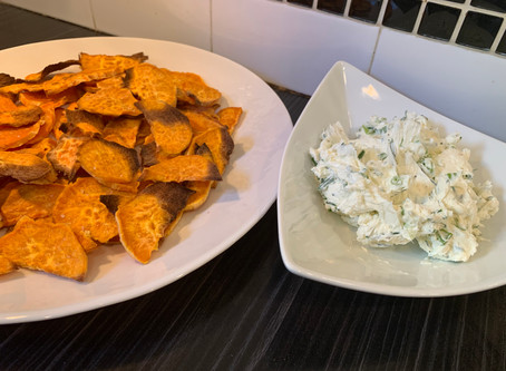 Sweet potato crisps with green onion and chive cream cheese