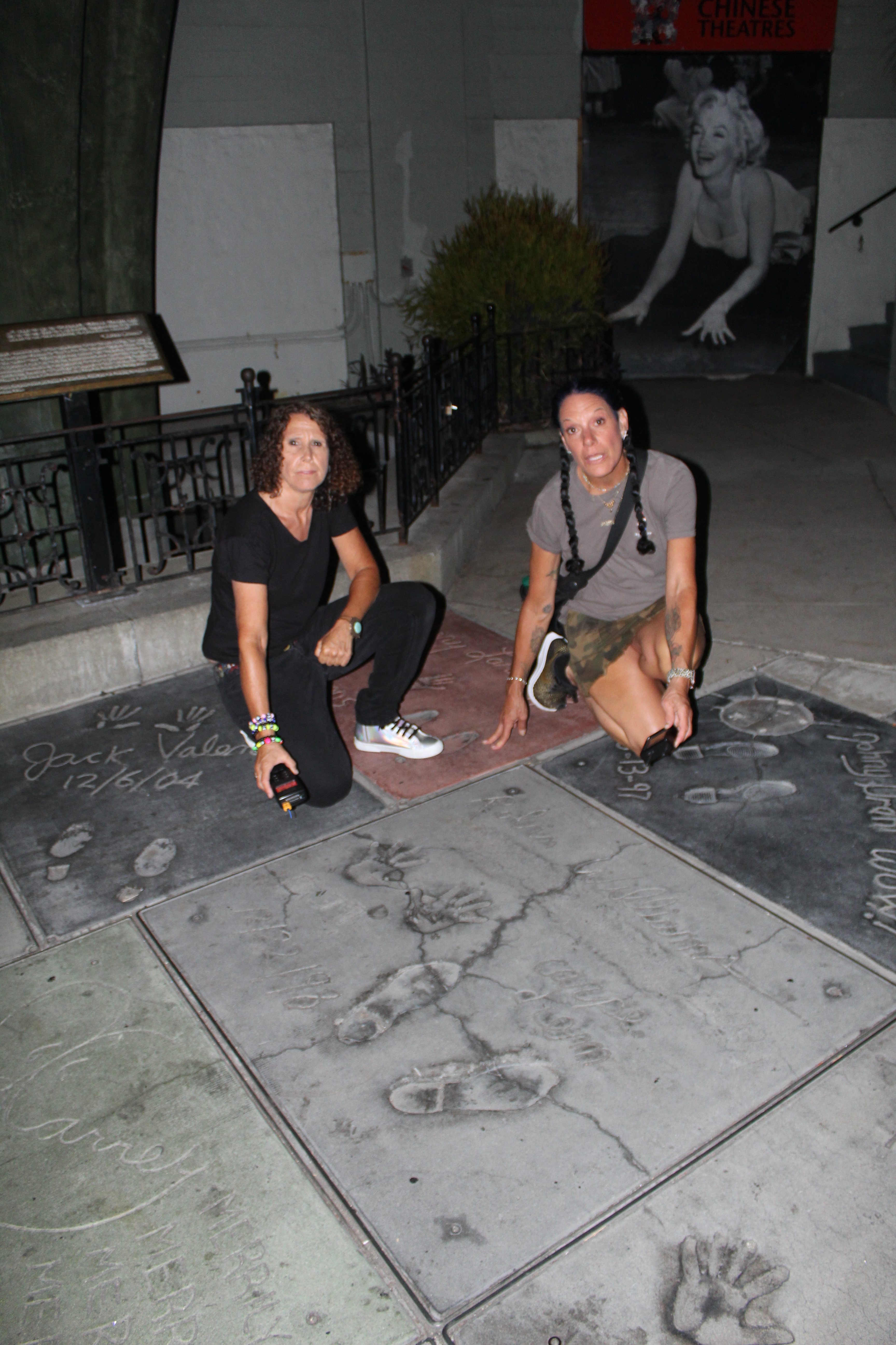 Linda at Grauman's Theater handprint