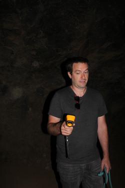Young man using thermal camera