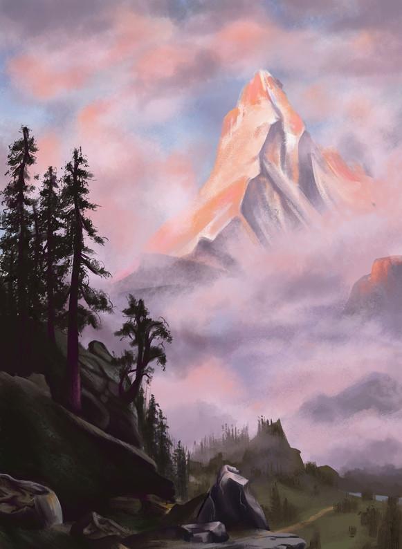 A study of 'Sunrise on the Matterhorn' by Albert Bierstadt