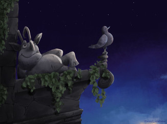 Character Design Challenge: Gargoyle  This gargoyle loves to take a break to watch the stars so his friend steps in to cover the shift.