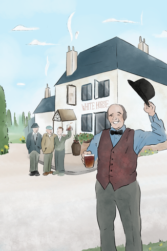 Commission, March 2020 This illustration is in memory of a woman's late Grandfather, he is remembered fondly as he has been placed into the wall mural of his pub in it's hay day.