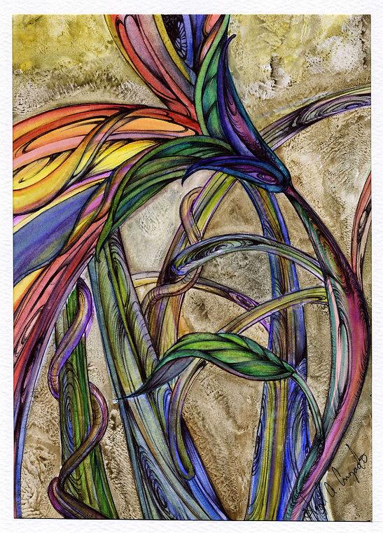 amaryllis, flower, abstarct flower, water colors