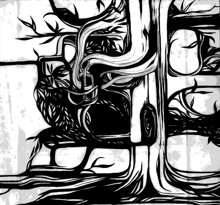 abstarct tree, black and white tree, graphics
