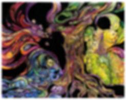 trees, birds, pheonix, colored pencil, adventure, abstarct, story telling