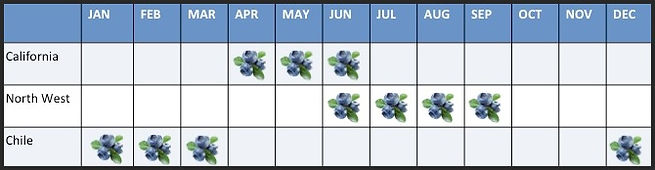A calendar of blueberries harvest season. California is April through June. North West is June through September. Chile is December through March.