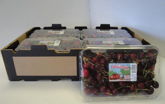Cherries in clamshell packaging
