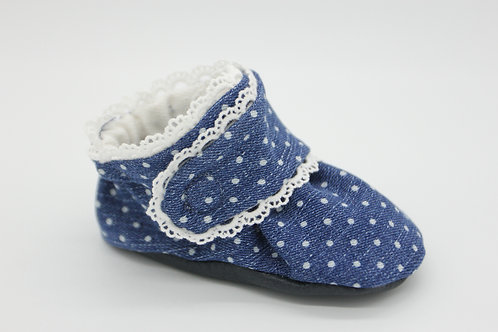 Etta Denim Pindot with Scallop Trim