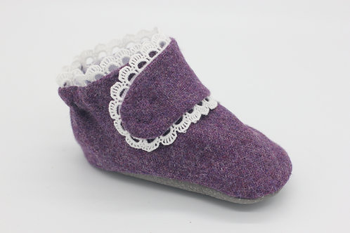 Etta Plum Woven Wool with Scallop Trim