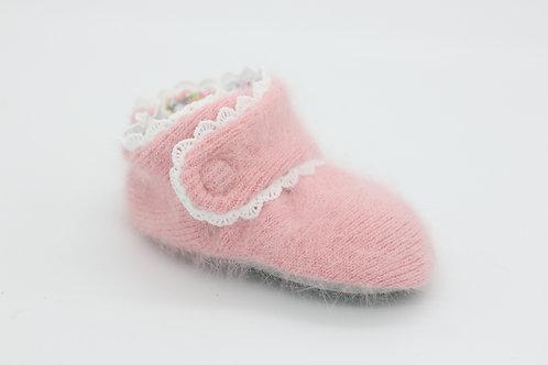 Etta Peachy-Pink Sweater with Scallop Trim