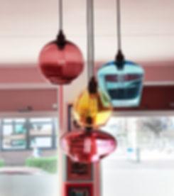 multi coloured pendant lights