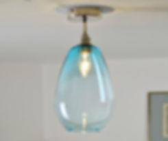 Blue Glass Semi Flush Ceiling Lights