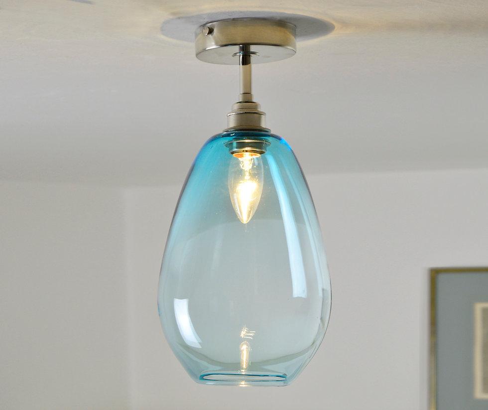 Blue Glass Semi Flush Ceiling Lights