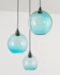 aquamarine glass globe pendant lights