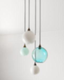 coloured glass sphere chandelier